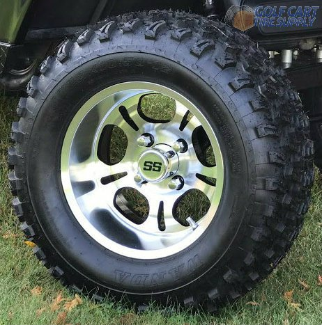 ed Aluminum Wheels and 23x10.5-12 All Terrain Golf Cart Tires Combo - Set of 4 ()