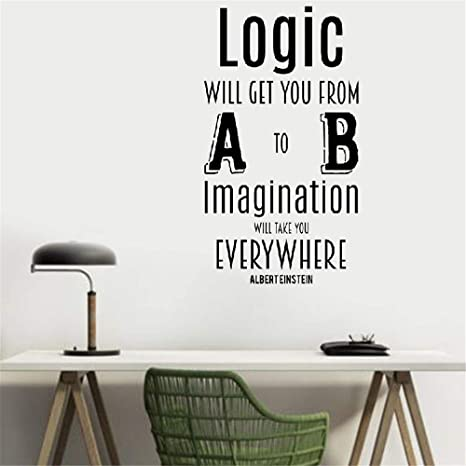 Peruil Vinyl Wall Art Inspirational Quotes And Saying Home Decor Decal Sticker Logic Will Get You From A To B Imagination Will Take You Everywhere For Living Room Bedroom Home