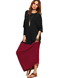 8165514d646 Verdusa Women s Color Block Long Sleeve Casual Loose Oversized Maxi Dress