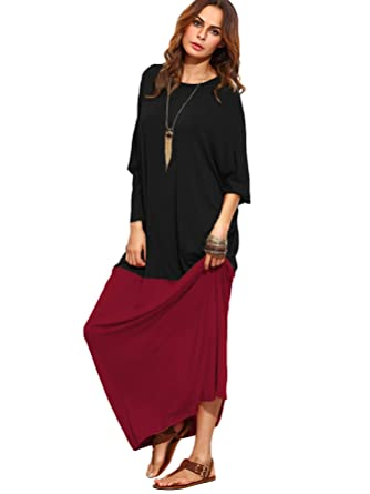 fde8b3521f Verdusa Women s Color Block Long Sleeve Casual Loose Oversized Maxi Dress  Black XXS