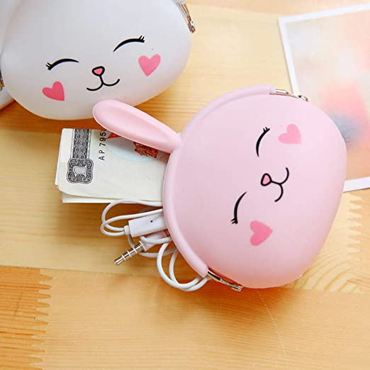 Transer Cute Cartoon Bunny Silicone Purse Coin Bag Wallet Earphone Cable Storage Bags (Pink)