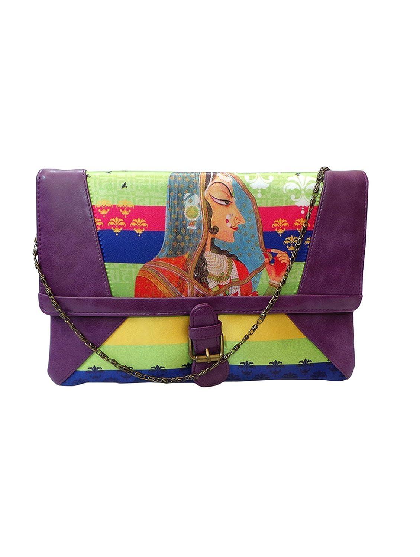 Bhamini Digital Quirky Clutch (Purple)