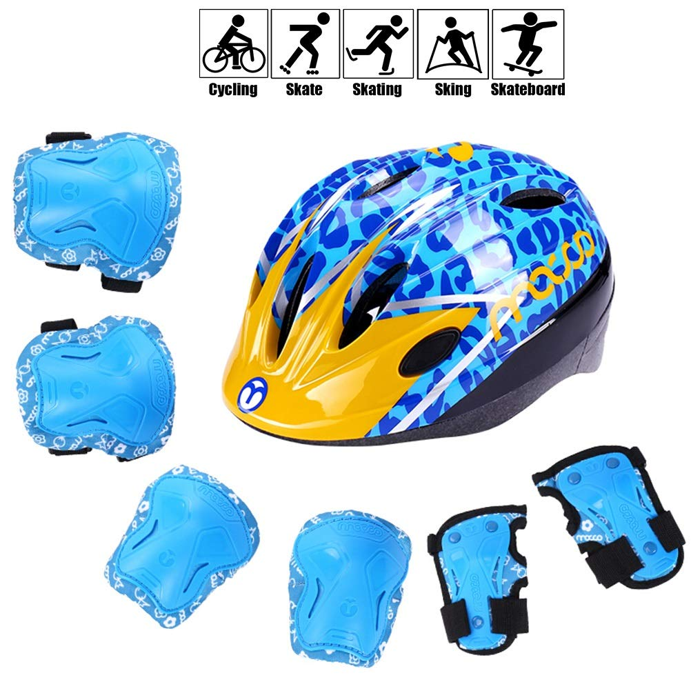 Kids Protective Gear Set Boys/Girls Cycling Adjustable Helmet Safety Pads Set [Knee&Elbow Pads and Wrist Guards] Roller Scooter Skateboard Bicycle Outdoor Sports (Color : Blue, Size : L)