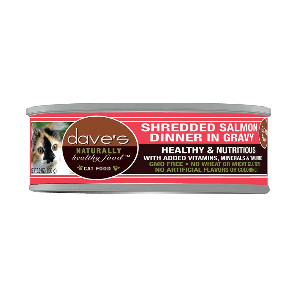 Dave's Naturally Healthy Cat Food Shredded Salmon 5.5oz Can by Dave's Pet Food