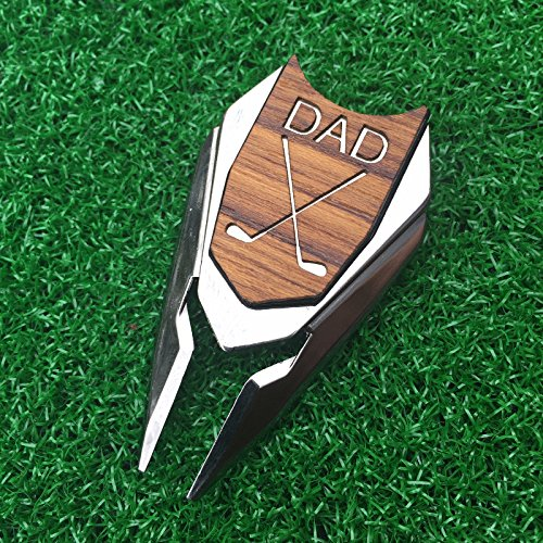 DAD Engraved Golf Gift Divot Tool and Ball Marker in Teak Wood - Dad Personalized Gift, Dad Christmas Gift, Gift for Dad, Dad Birthday Gift