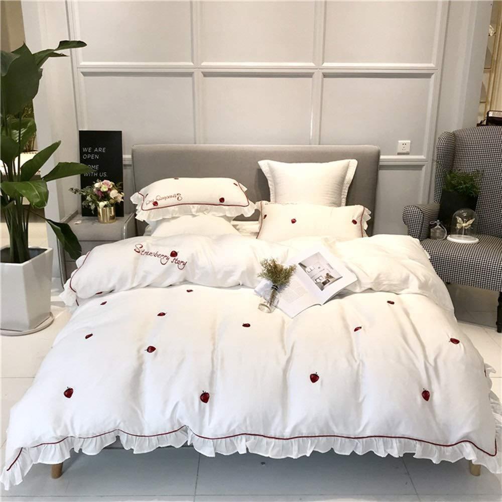 CSYP サテンロングステープル綿刺繍クラフトスタイル4ピースセット小さな新鮮な寝具の王女の風のベッド60枚4枚 (Color : White, Size : M) B07Q421SPY