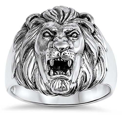 - Men's Great Lion Roar King Mane Ring New .925 Sterling Silver Band Size 12