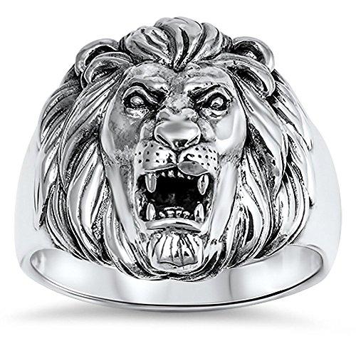Sterling Silver New King - Men's Great Lion Roar King Mane Ring New .925 Sterling Silver Band Size 12