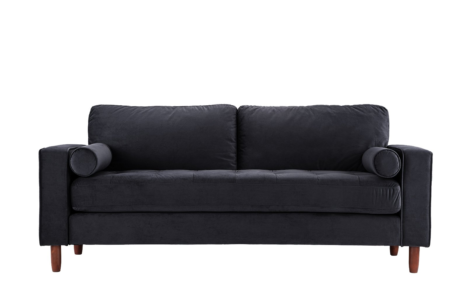 Mid Century Modern Velvet Fabric Sofa, Couch with Bolster Pillows (Black) - Divano Roma Furniture's upholstered sofa with bolster pillows comes in soft and bright color variances Features hand picked soft velvet fabric upholstery with 4 wooden legs Firmly padded cushions that use high density memory foam for added comfort - sofas-couches, living-room-furniture, living-room - 61xkZPc5FdL -