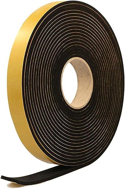 Striscia spugna autoadesiva di gomma nera in neoprene 25 mm di larghezza x 15 mm di spessore x 5 m di lunghezza