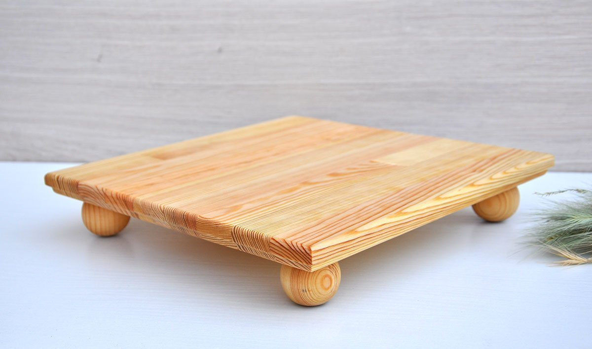 12x12'' wood serving tray wooden serving platter apetizer tray breakfast tray rustic cake stand wood cupcake stand baby shower candy bar wedding table decorations