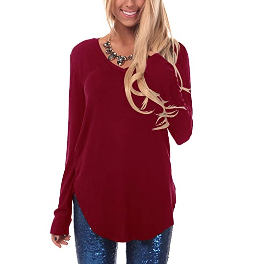 aef0b892ac5 Suimiki Women s Casual V Neck Long Sleeve T Shirt Side Slit Solid Color Tee  Top Wine
