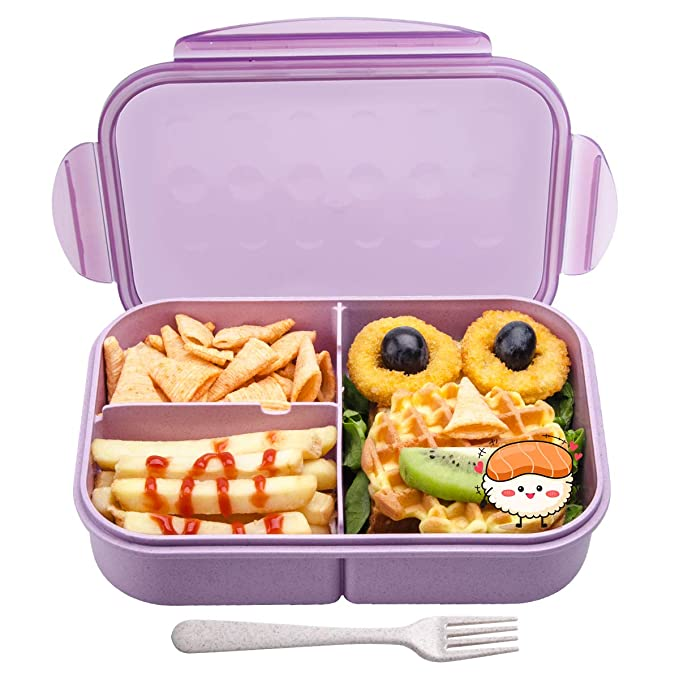 Bento Box for Kids, Leakproof Lunch Box with 3 Compartments, Lunch container safe for kids (Purple) By MissBig