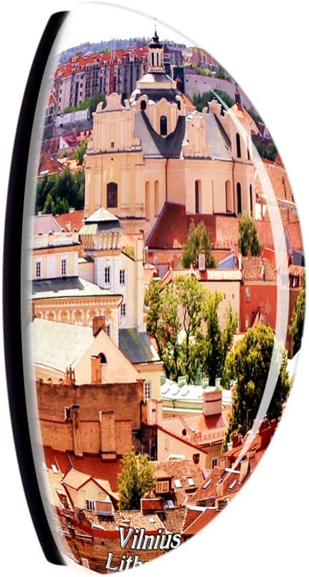Weekino Citt/à Vecchia di Vilnius Lituania Calamit/à da frigo 3D Cristallo Bicchiere Tourist City Viaggio Souvenir Collezione Regalo Forte Frigorifero Sticker