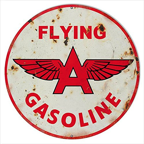 Flying Sign Tin (Old Tin Sign Flying A Gasoline Vintage Classic Advertising Posters 100% MADE IN THE USA)