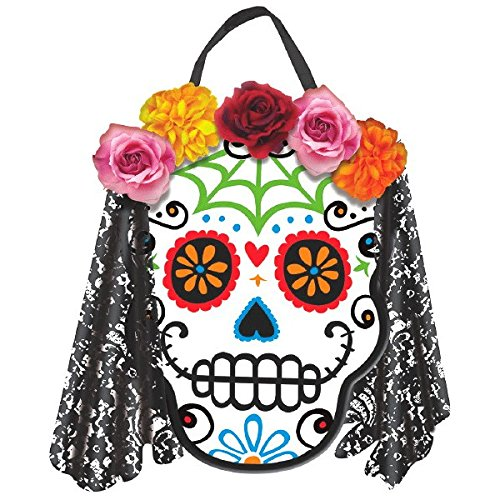 amscan Day of The Dead Halloween Party Sugar Skull Bride Hanging Sign Decoration, Multicolor, 12