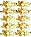 10pcs Set Mardi Gras Half Masquerades Venetian Masks Costumes Party Accessory (Gold Butterfly)