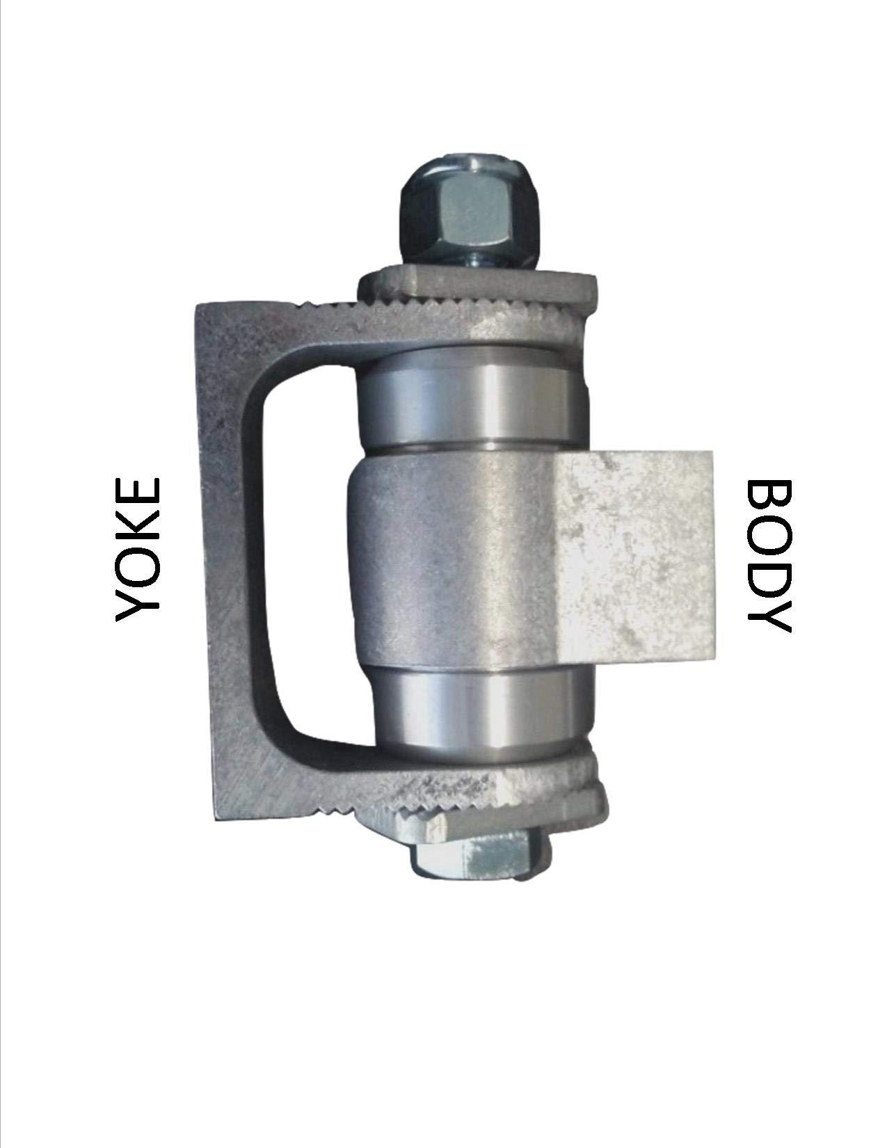 Pair of Adjustable Heavy Duty Hinges, Weld-on - Unpainted (Aluminum Body/Steel Yoke)