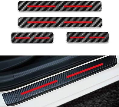 Für Touareg Tiguan Touran Einstiegsleisten Schutz Aufkleber Verschleiß Vermeiden Verhindern Sie Kratzer Rutschfest Kohlefaser 4stück Rot Auto