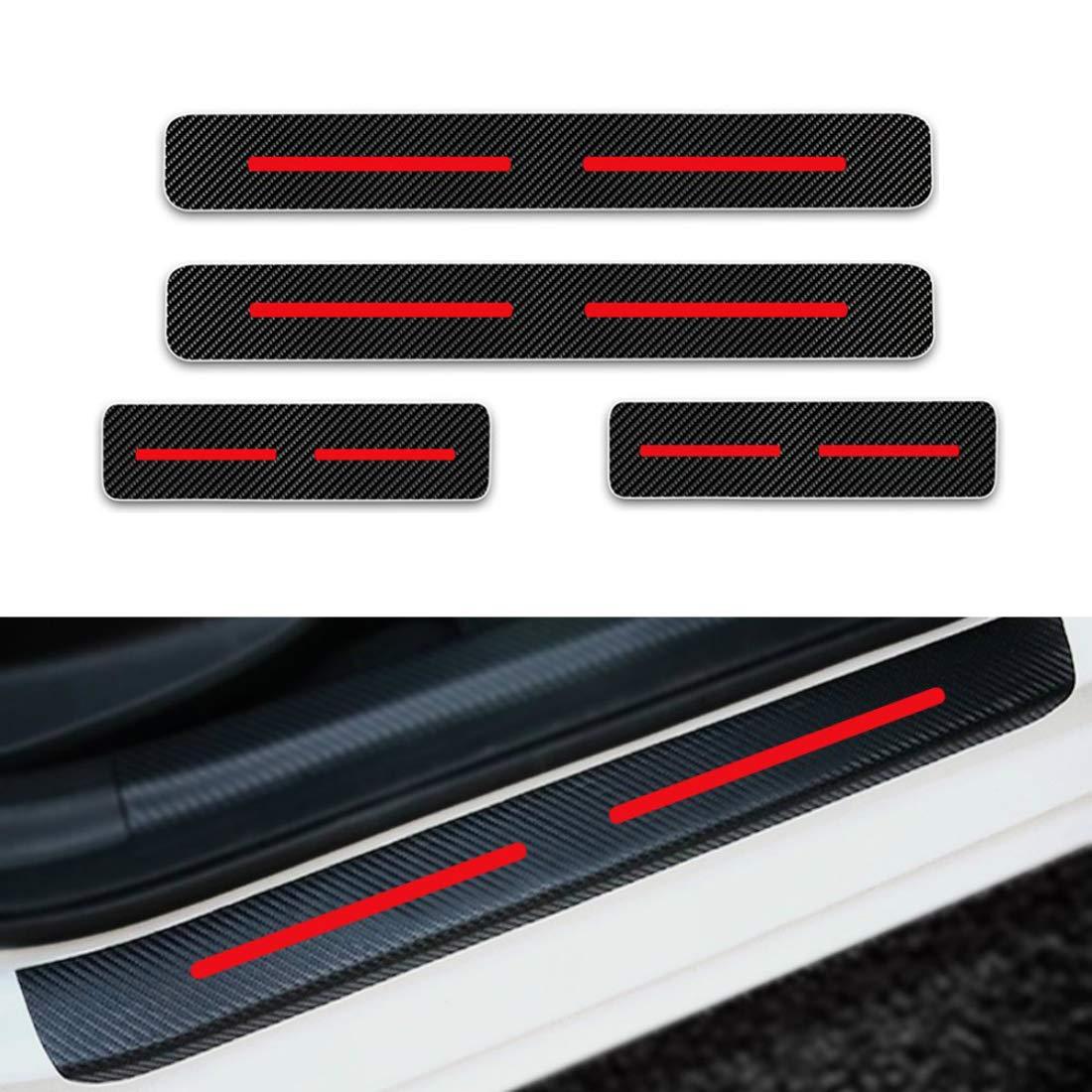 Per Rifter 5008 Traveller Battitacco Soglia Porta Auto,Carbon Fiber Sticker adesivi Styling,Esterno Batticalcagno Prevenire lusura Previene graffi 4Pezzi Rosso