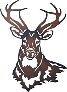 Collections Etc Deer Metal Wall Art Sculpture with Rustic Cabin Décor Finish