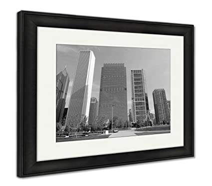 Ashley framed prints chicago skyline in morning wall art home decoration black white