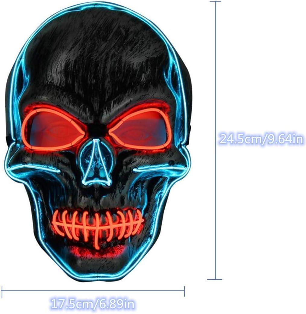 Con 4 hojas de tatuajes temporales herida Fiesta Rojo y Azul LED Halloween M/áscara Navidad Bolas de Disfraces M/áscara de iluminaci/ón de Miedo Cr/áneo Luminoso para Halloween