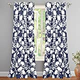 """yellow insulated grommet curtains - DriftAway Floral Delight Botanic Pattern Room Darkening/Thermal Insulated Grommet Unlined Window Curtains, Set of Two Panels, each 52""""x84"""" (Navy)"""