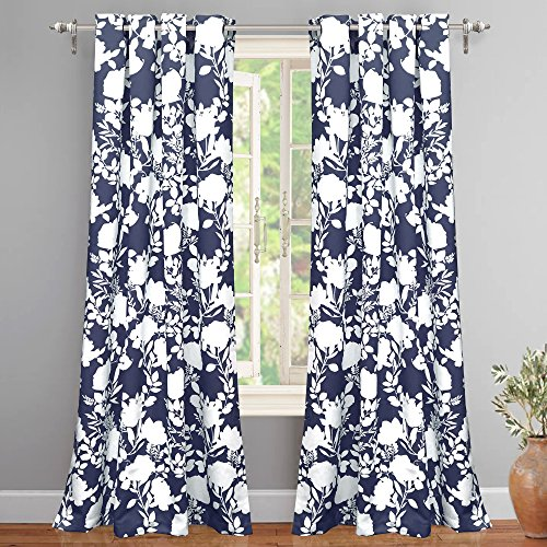 "DriftAway Floral Delight Botanic Pattern Room Darkening/Thermal Insulated Grommet Unlined Window Curtains, Set of Two Panels, Each 52""x84"" (Navy) -"