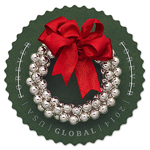 USPS Global Forever International Silver Bells Wreath Postage Stamps (10 Stamps in - Class International Price Usps First