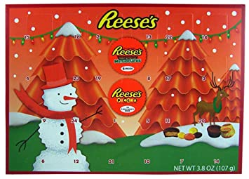 2018 reeses holiday countdown christmas advent calendar with reeses peanut butter cups and candy pieces