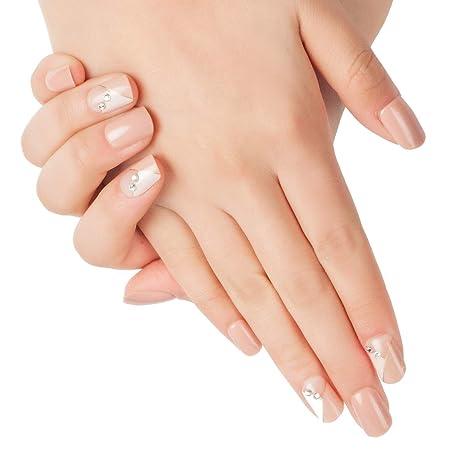 Doreliss uñas postizas 30 Pcs Diamantes Consejos corto uñas falsas de Pegamento adhesivo de doble cara Rosa Palido
