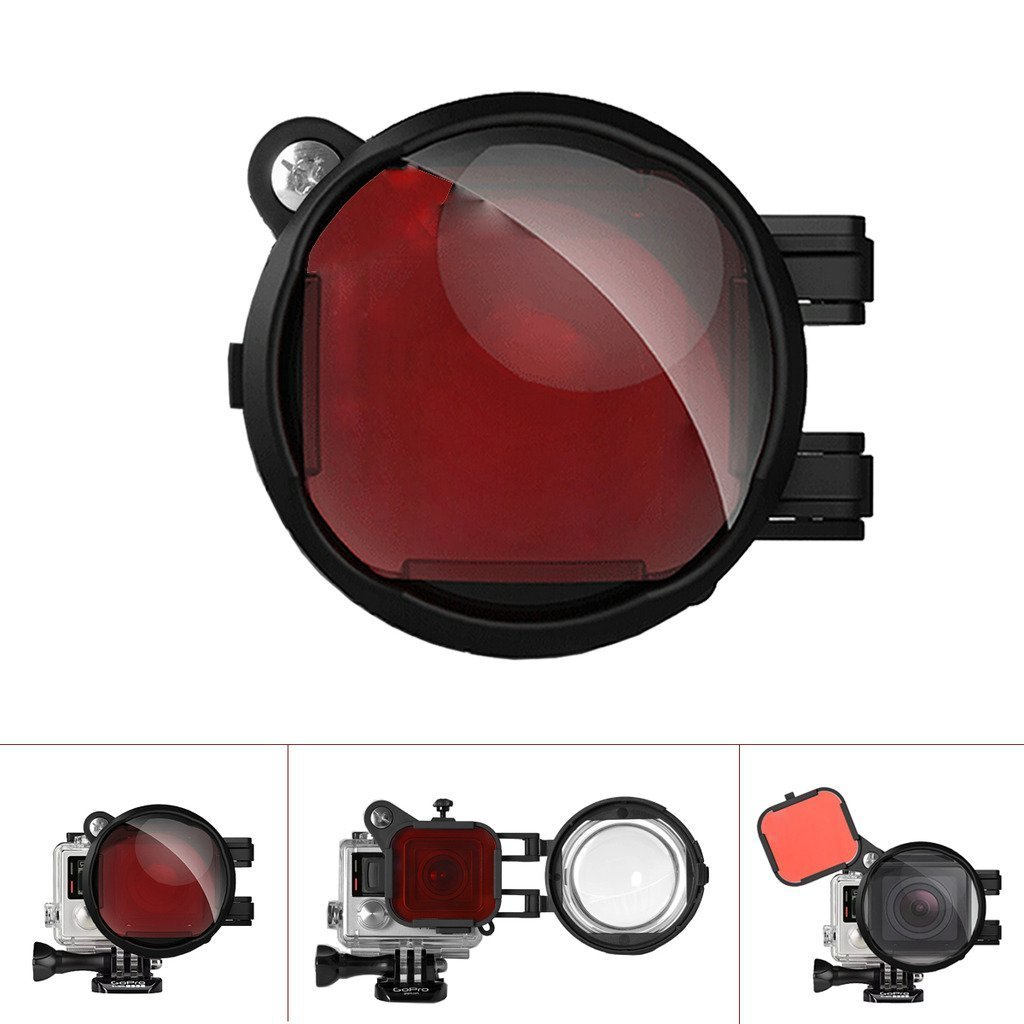 Fantaseal Professional 2-in-1 Dive Lens Combo for GoPro Diving Lens Filter GoPro Underwater Lens Filter, Red Filter + 16X Macro Lens w/Anti-Slip Safety Lock for Hero 4 /3+ (for Blue/Tropical Water) by fantaseal