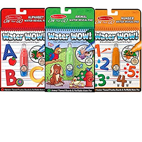 Melissa & Doug On the Go Water Wow! Activity Book, 3-Pack - Animals, Alphabet, and Numbers - Go Go Animali Set
