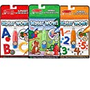 Melissa & Doug On the Go Water Wow! Reusable Water-Reveal Activity Pads, 3-pk, Animals, Alphabet, Numbers