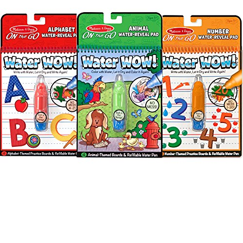 Melissa & Doug On the Go Water Wow! Reusable Water-Reveal Activity Pads, 3-pk, Animals, Alphabet, Numbers -