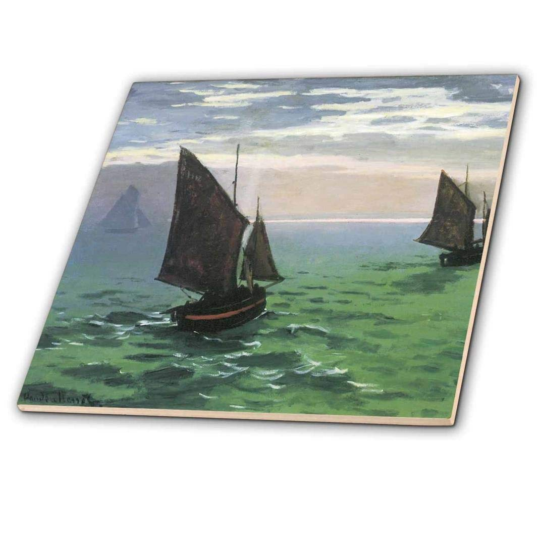 12-Inch 3dRose ct/_178868/_4 Fishing Boats at Sea Vintage Monet-Ceramic Tile