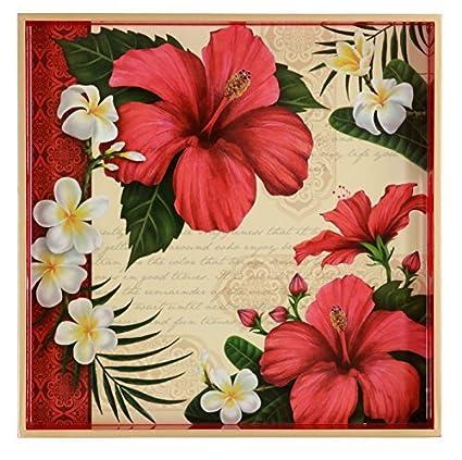 Flor de hibisco flores, rojo, color blanco, verde, decoupage cuadrado de madera