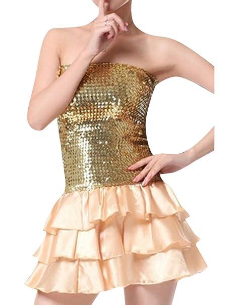 Mujer Bandeau Fiesta Vestido Mini Vestido Con Lentejuelas Danza Color Sólido Vestidos Dorado Un-Tamaño