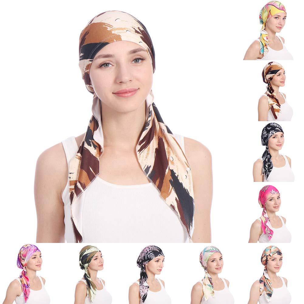 shengyuze Fashion Floral Printed Breathable Women Head Wrap Hat Muslim Hijab Turban Decor - Rose Red by shengyuze (Image #2)