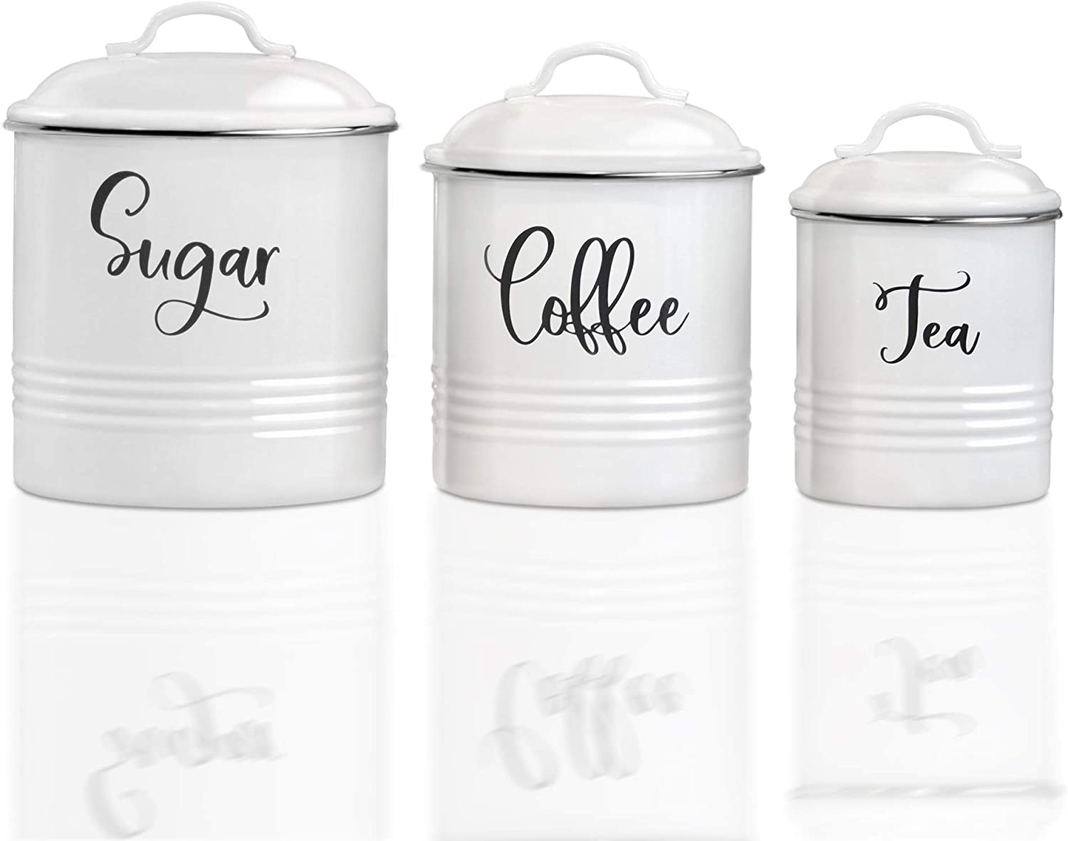 Canister Sets For Kitchen Counter-Modern Farmhouse Kitchen Decor-Rustic Kitchen Canisters Set of 3-Farmhouse Canisters sets for the Kitchen-White Airtight Food Storage for Coffee, Sugar, Tea and More