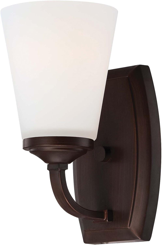 Minka Lavery Wall Sconce Lighting 6961-284, Overland Park Glass Wall Lamp Fixture, 1 Light, Vintage Bronze