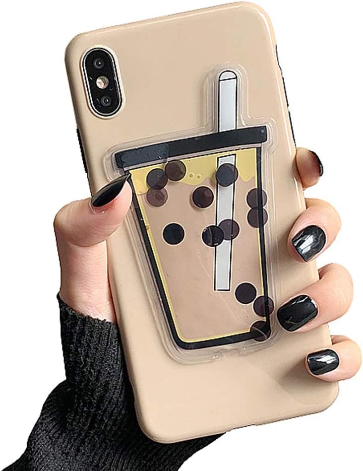 UnnFiko 3D Liquid Cartoon Case Compatible with iPhone XR, Super Cute Quicksand Bubble Tea, Soft TPU Rubber Bumper Cover Cool Fun Protective Case (iPhone XR)