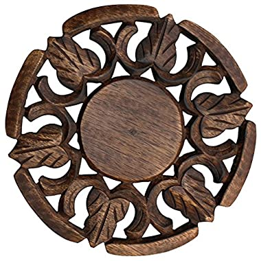 Kitchen Item Sale - Trivet for Hot Dishes Dining Table Handmade in Mango Wood Decorative Solid Round Shaped Trivet 6.6  - Kitchen Accessories / Essentials / Gadgets / Thanksgiving Gifts
