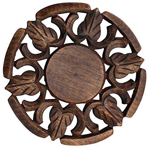 Kitchen Item Sale – Trivet for Hot Dishes Dining Table Handmade in Mango Wood Decorative Solid Round Shaped Trivet 6.6 – Kitchen Accessories / Essent…