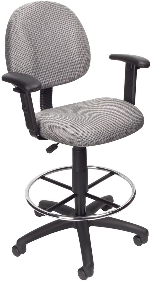 Boss Office Products Ergonomic Works Drafting Chair with Adjustable Arms in Grey