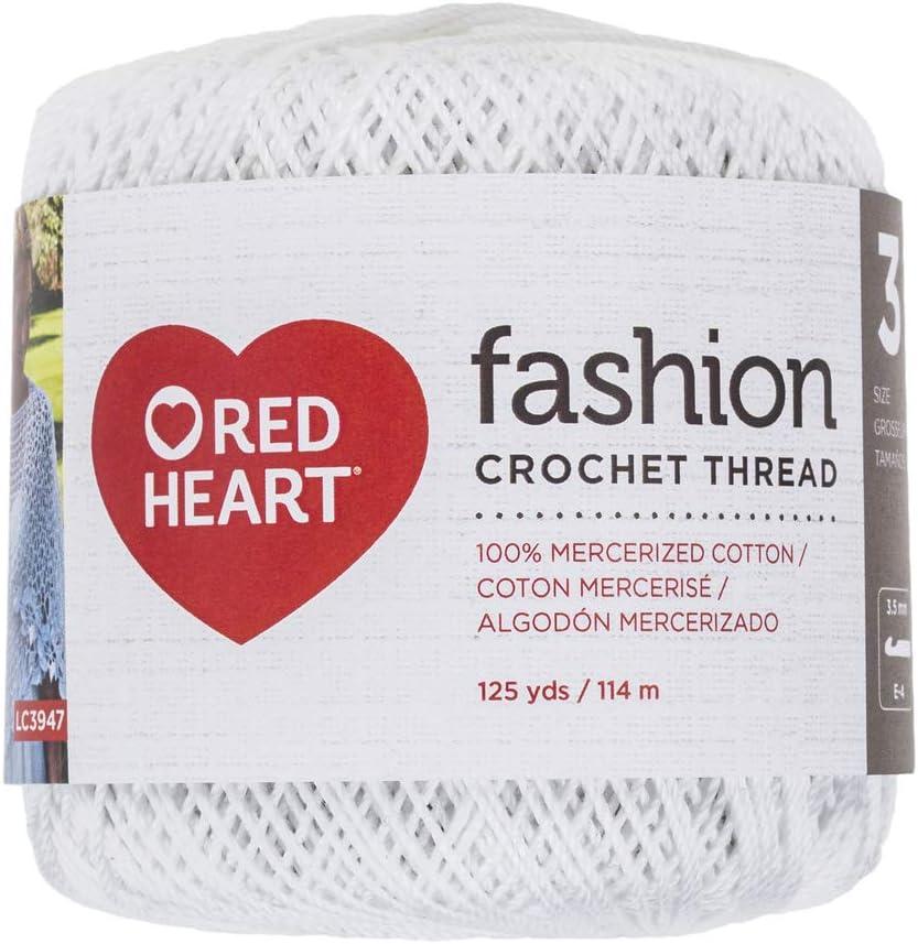 Red Heart Fashion Crochet Thread Size 3-White
