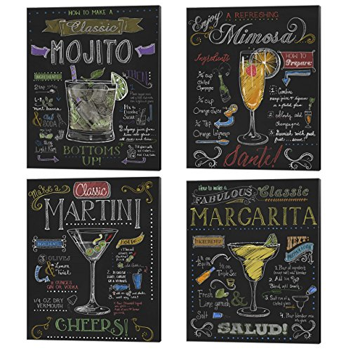 Cocktails by Fiona Stokes-Gilbert, 4 Piece Canvas Art Set