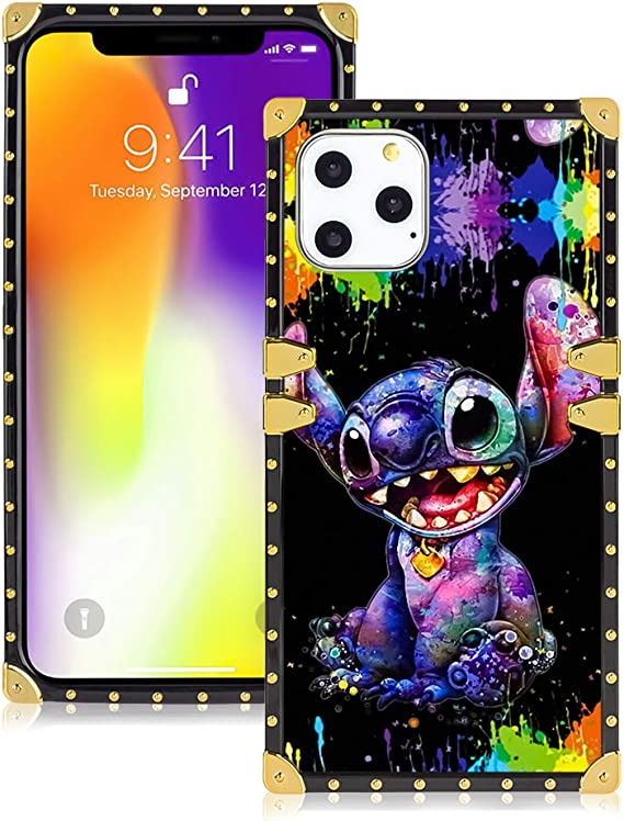 Amazon Com Disney Collection Case For Iphone 11 Pro 5 8 Cute Cartoon Pattern Style Stitch Wallpapers Square Soft Tpu Protective Case Luxury Glitter Decoration Electronics