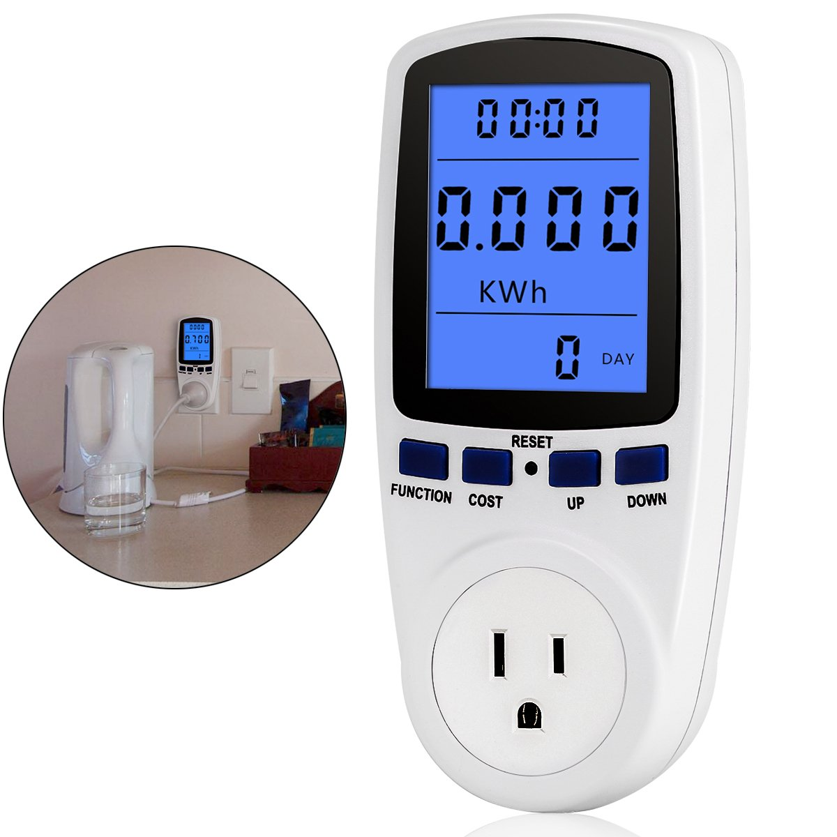 Power Meter Plug with Display,Digital Power Saving Energy Monitor Watt Amp Volt KWh Meter Electricity Analyzer with LCD Display